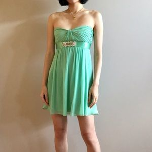 Bcbg maxazria silk green mini dress